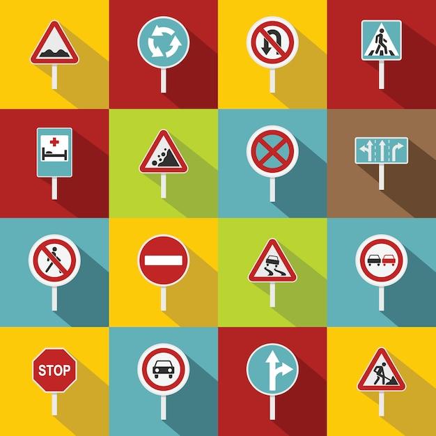 Jeu d'icônes différents panneaux de signalisation, style plat Vecteur Premium