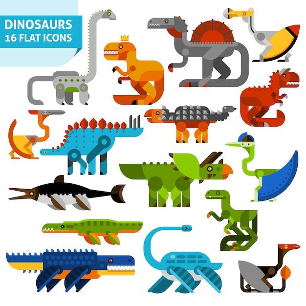 Jeu d'icônes de dinosaure Vecteur gratuit