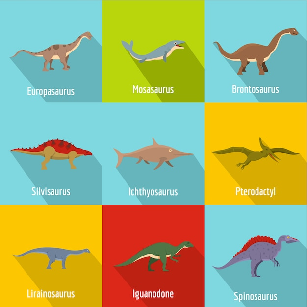 Jeu d'icônes de dinosaures. ensemble plat de 9 icônes vectorielles de dinosaure Vecteur Premium