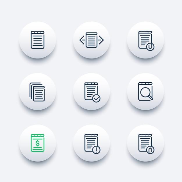Jeu D'icônes De Documents Vecteur Premium