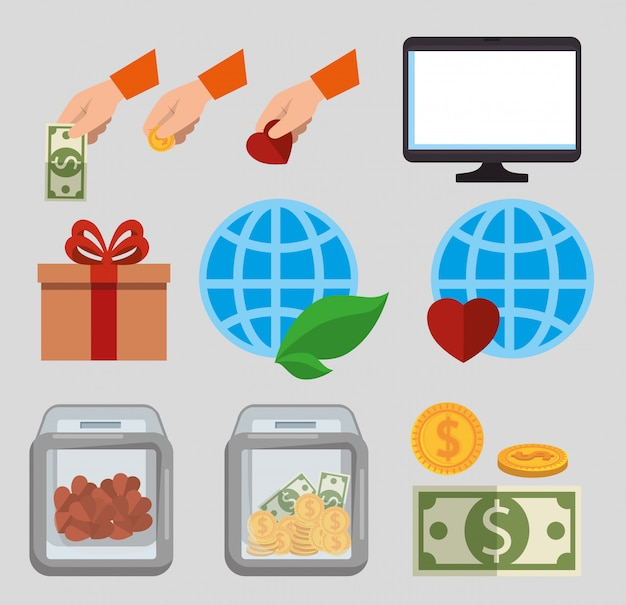 Jeu d'icônes de dons de charité Vecteur gratuit