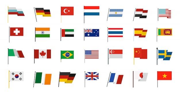 Jeu d'icônes de drapeau pays. ensemble plat de la collection d'icônes de pays drapeau vecteur isolée Vecteur Premium