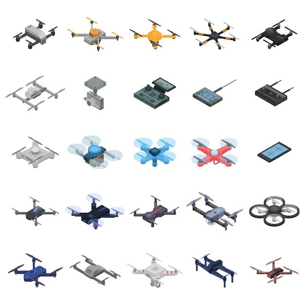 Jeu d'icônes de drone Vecteur Premium