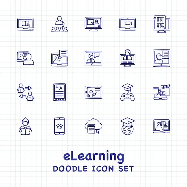 Jeu D'icônes E-learning Vecteur Premium