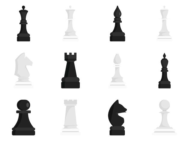 Jeu d'icônes d'échecs Vecteur Premium