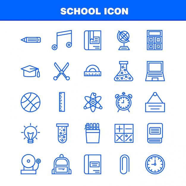 Jeu d'icônes de l'école Vecteur Premium