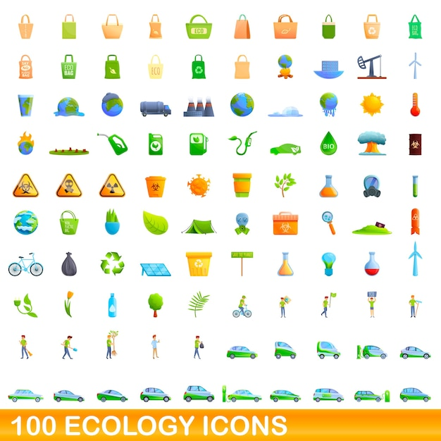 Jeu D'icônes D'écologie. Bande Dessinée Illustration D'icônes D'écologie Sur Fond Blanc Vecteur Premium