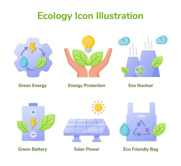 Jeu D'icônes De L'écologie Collection énergie Verte Protection De L'énergie Eco Nucléaire Batterie Verte énergie Solaire Vecteur Premium