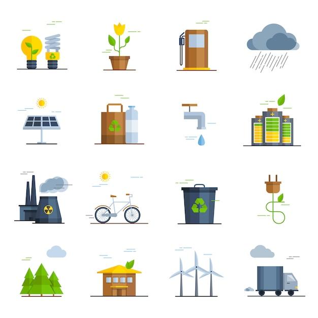 Jeu d'icônes d'écologie Vecteur gratuit