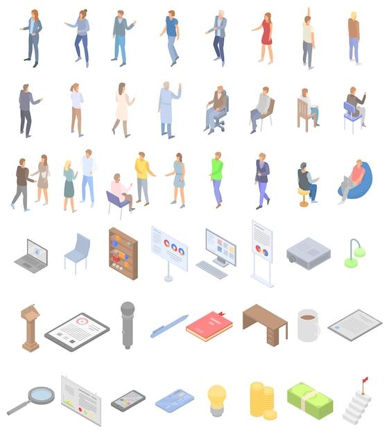Jeu d'icônes de l'éducation du personnel, style isométrique Vecteur Premium