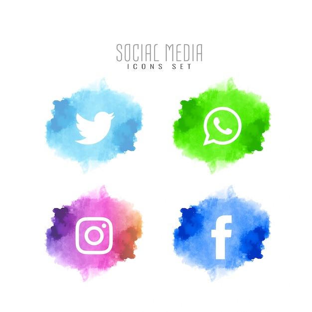Jeu d'icônes élégantes abstrait médias sociaux Vecteur gratuit