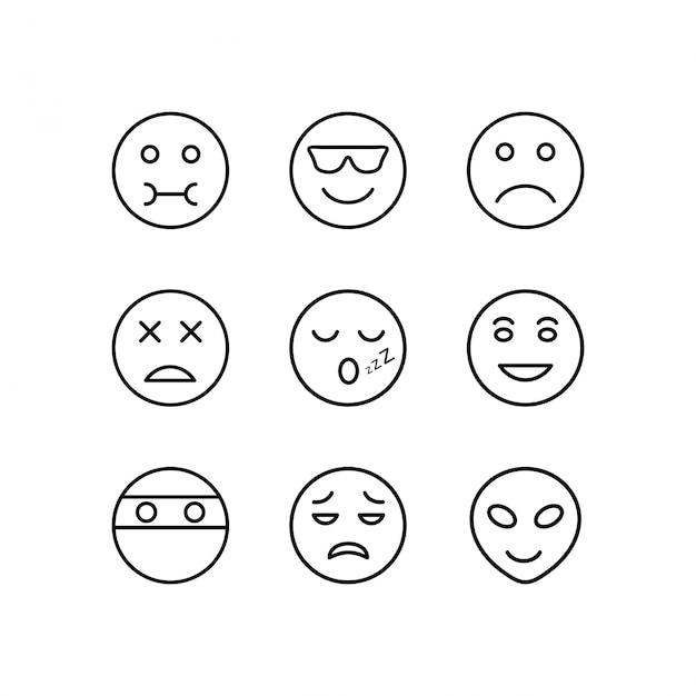 Jeu D'icônes D'emoji Vecteur Premium