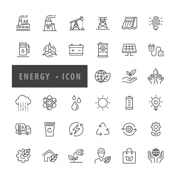Jeu d'icônes d'énergie illustration vectorielle, Vecteur Premium