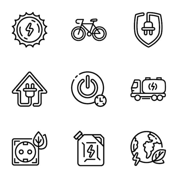 Jeu d'icônes d'énergie, style de contour Vecteur Premium
