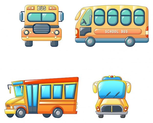 Jeu d'icônes enfants autobus scolaire retour Vecteur Premium