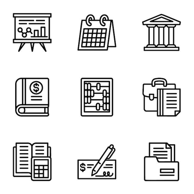 Jeu d'icônes de l'entreprise. ensemble de contour de 9 icônes de l'entreprise Vecteur Premium