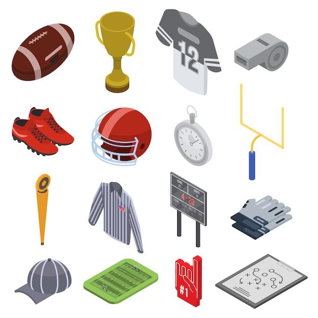 Jeu d'icônes d'équipement de football américain, style isométrique Vecteur Premium