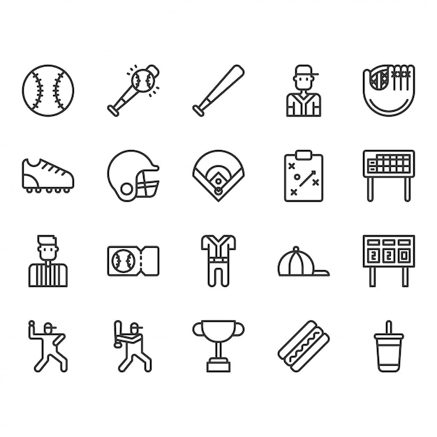 Jeu d'icônes d'équipements et d'activités de baseball Vecteur Premium