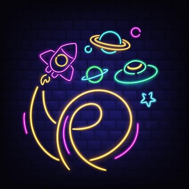 Jeu D'icônes De L'espace Au Néon, Fusée, Ovni, Saturne Et étoile Vecteur gratuit