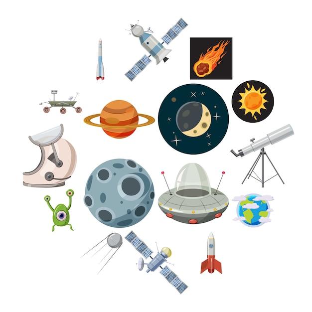 Jeu d'icônes de l'espace, style cartoon Vecteur Premium