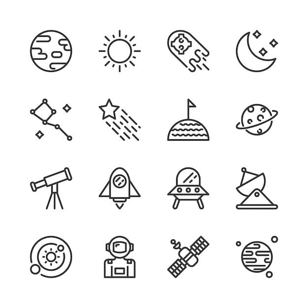 Jeu d'icônes de l'espace Vecteur Premium