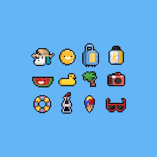 Jeu d'icônes été dessin animé pixel. 8 bits. vacances. Vecteur Premium