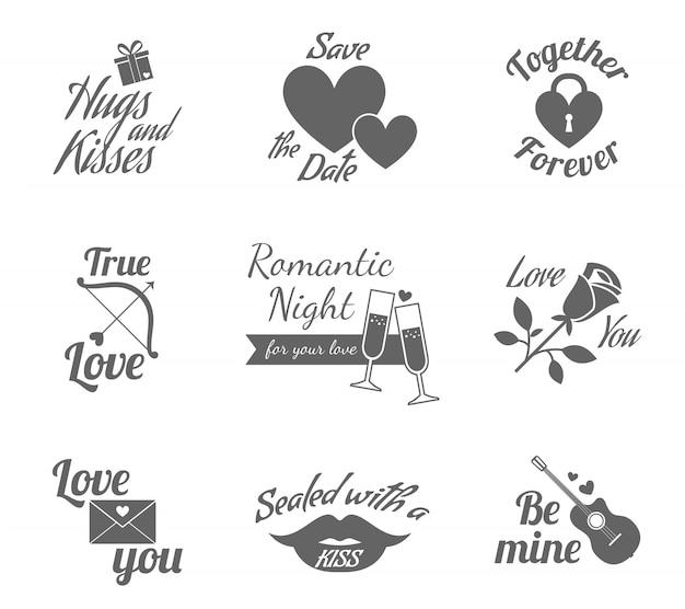 Jeu d'icônes étiquettes romantiques Vecteur gratuit