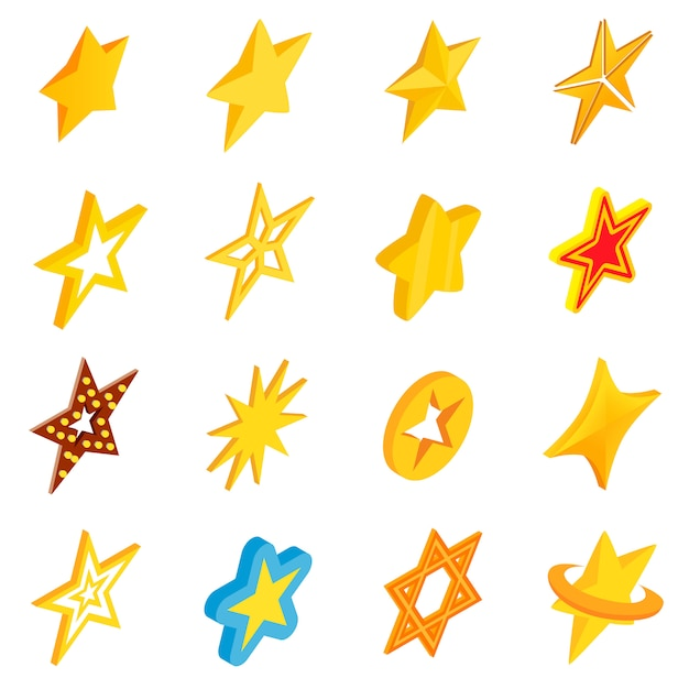 Jeu d'icônes étoiles Vecteur Premium