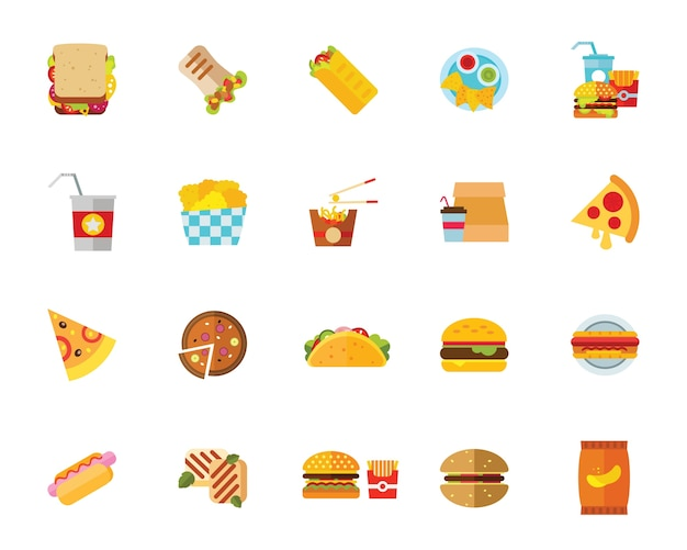 Jeu D'icônes De Fast-food Vecteur gratuit