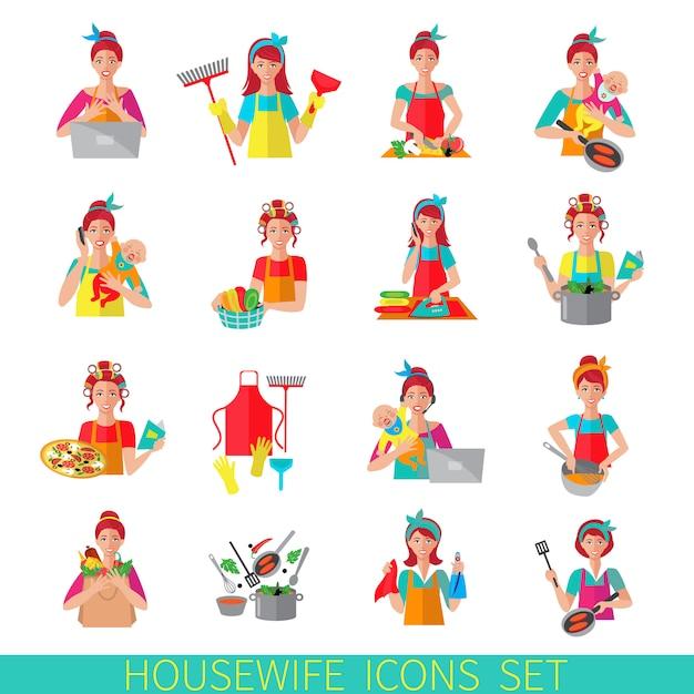 Jeu d'icônes de femme au foyer Vecteur gratuit
