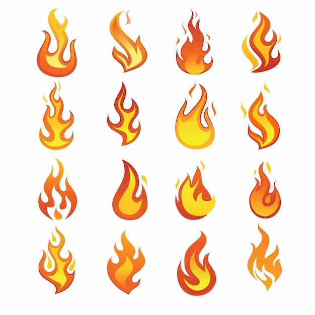 Jeu d'icônes de flamme de feu Vecteur Premium