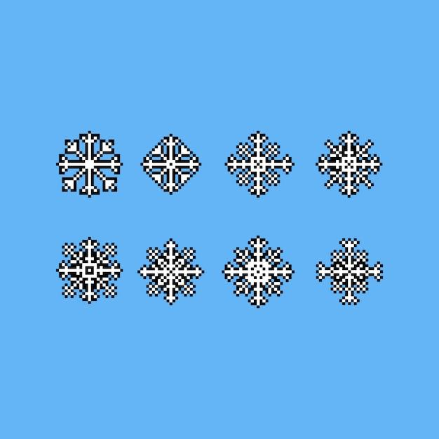 Jeu Dicônes De Flocon De Neige Pixel Art Télécharger Des