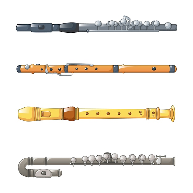 Jeu d'icônes de flûte Vecteur Premium
