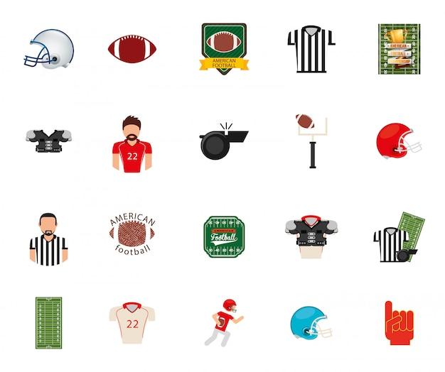 Jeu d'icônes de football américain isolé Vecteur gratuit