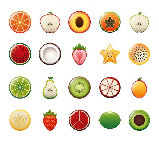 Jeu d'icônes de fruits isolés Vecteur gratuit