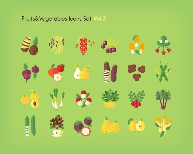 Jeu D'icônes De Fruits Et Légumes. Illustration. Vecteur Premium