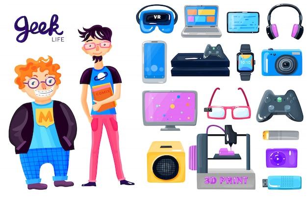 Jeu d'icônes gadgets de personnage de dessin animé Vecteur gratuit