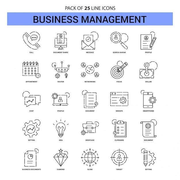 Jeu d'icônes de gestion en ligne - style de contour 25 en pointillés Vecteur Premium