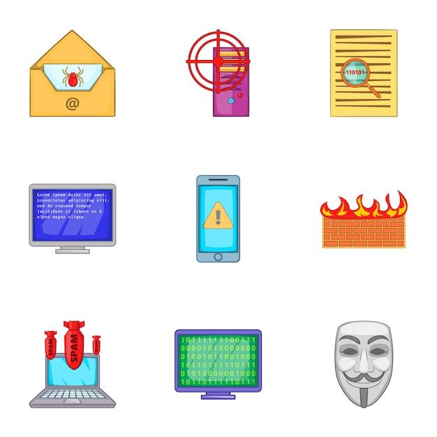 Jeu D'icônes De Hacker, Style Cartoon Vecteur Premium