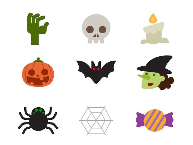 Jeu D'icônes D'halloween De Personnages Dans Un Style Plat Vecteur Premium