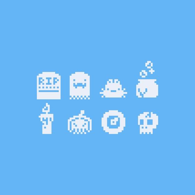 Jeu d'icônes halloween pixel art 8bit Vecteur Premium