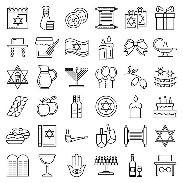 Jeu d'icônes de hanoukka. ensemble de contour des icônes vectorielles hanukkah Vecteur Premium