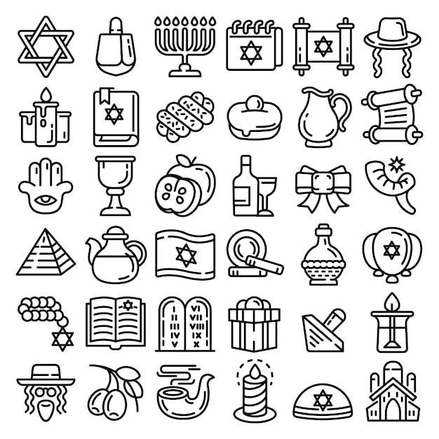Jeu d'icônes de hanoukka. ensemble de contours d'icônes vectorielles hanukkah pour la conception web isolée Vecteur Premium
