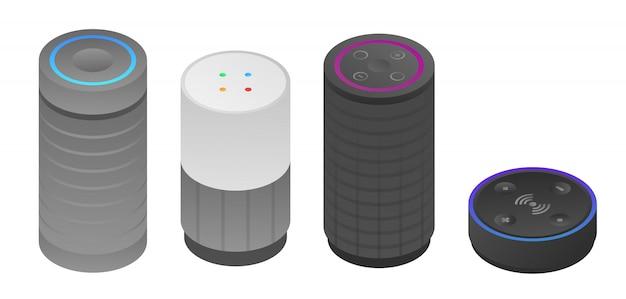 Jeu d'icônes de haut-parleurs intelligents, style isométrique Vecteur Premium