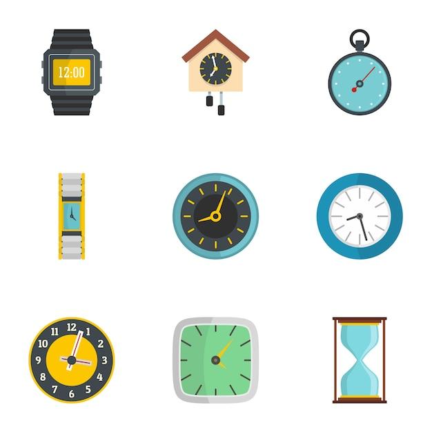 Jeu d'icônes d'horloge murale. ensemble plat de 9 icônes d'horloge murale Vecteur Premium
