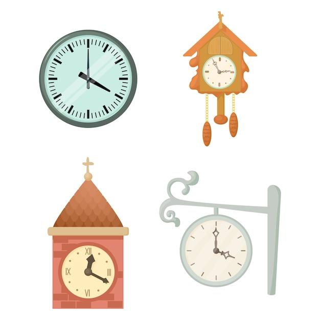 Jeu d'icônes d'horloge murale Vecteur Premium