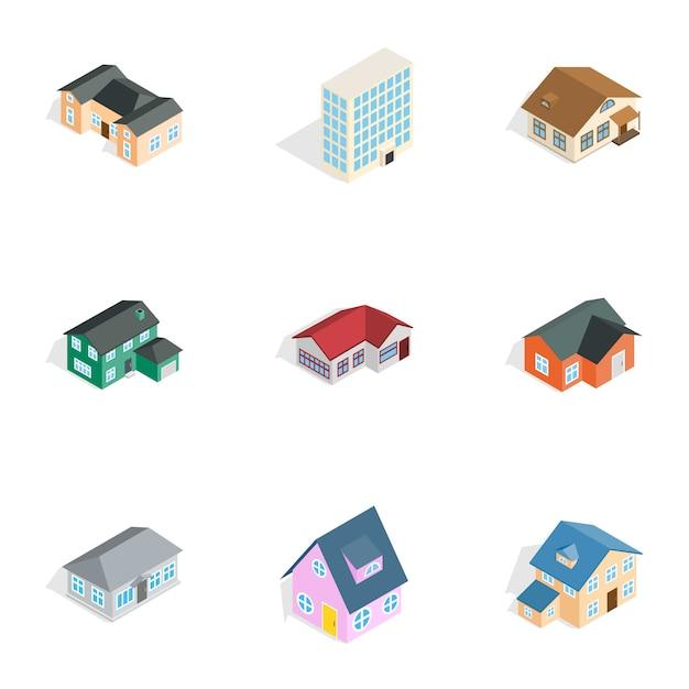 Jeu d'icônes immobilières, style 3d isométrique Vecteur Premium