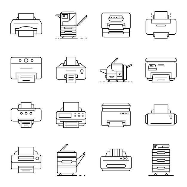 Jeu d'icônes d'imprimante. ensemble de contour des icônes vectorielles de l'imprimante Vecteur Premium