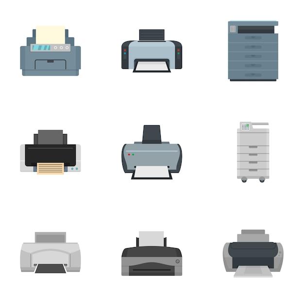 Jeu d'icônes d'imprimante. ensemble plat de 9 icônes vectorielles d'imprimante Vecteur Premium