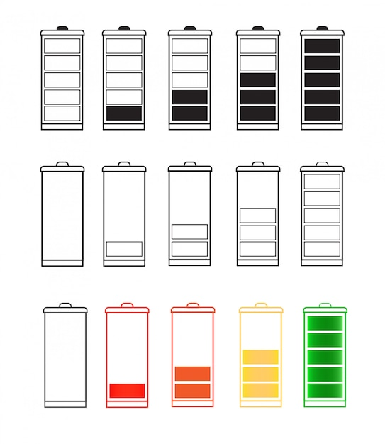 Jeu D'icônes D'indicateur De Batterie Isolé Isolé Sur Fond Transparent Vecteur Premium